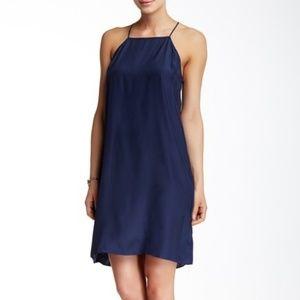 Acrobat | Blue Halter Neck Silk Slip Dress